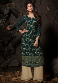 Green Color Designer Georgette Straight Cut Kurti