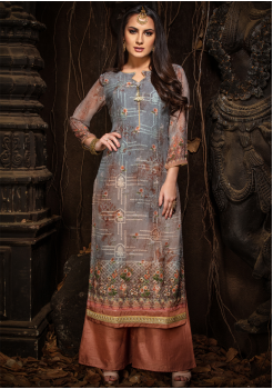 Grey Color Designer Georgette Straight Cut Kurti