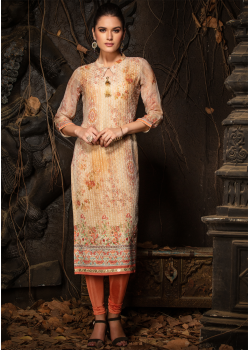 Beige Color Designer Georgette Straight Cut Kurti