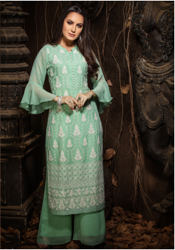 Light Green Color Designer Georgette Straight Cut Kurti