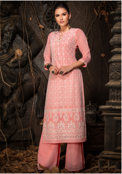 Pink Color Designer Georgette Straight Cut Kurti
