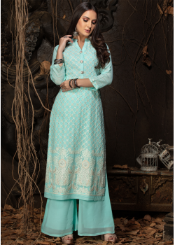 Blue Color Designer Georgette Straight Cut Kurti