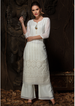 White Color Designer Georgette Straight Cut Kurti