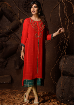 Red And Green Color Designer Georgette Kurti