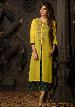Yellow And Green Color Designer Georgette Kurti