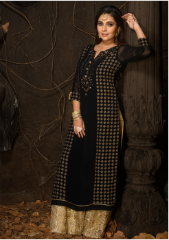 Black Color Designer Georgette Kurti