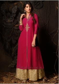Dark Pink Color Designer Georgette Kurti