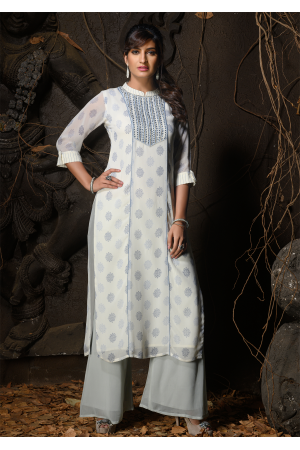 White Color Designer Georgette Kurti