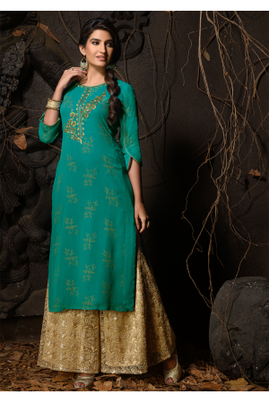 Green Color Designer Georgette Kurti