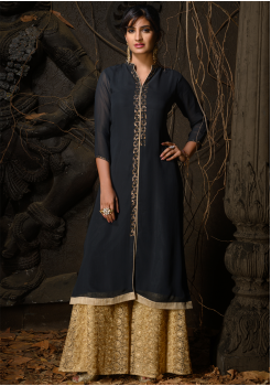 Grey Color Designer Georgette Kurti