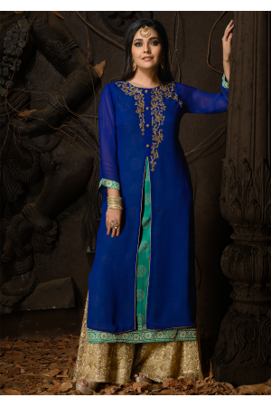 Blue And Green Color Designer Georgette Kurti