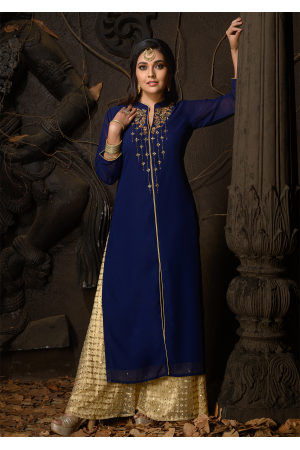 Blue Color Designer Georgette Kurti