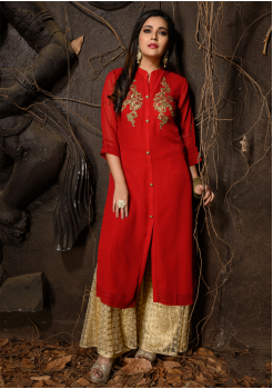 Red Color Designer Georgette Kurti
