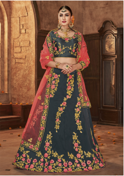Dark Charcoal With Pink Color Designer Silk Lehenga