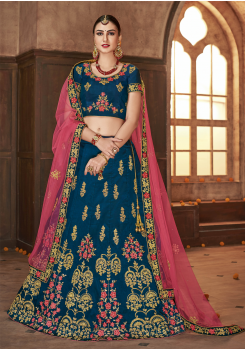 Dark Midnight Blue With Pink Color Designer Silk Lehenga
