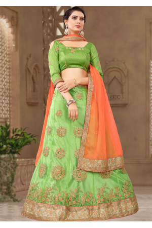 Green With Peach Color Designer Silk Lehenga