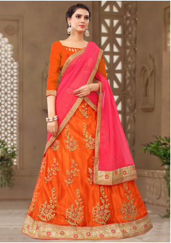 Orange With Pink Color Designer Silk Lehenga