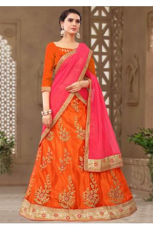 Orange With Pink Color Designer Silk Lehenga