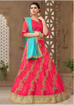 Radical Red With Blue Color Designer Silk Lehenga