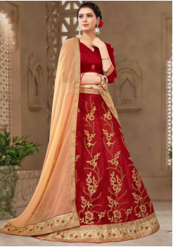Red With Gold Color Designer Silk Lehenga