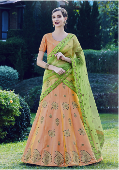 Peach With Green Color Designer Silk Lehenga
