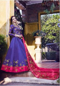 Blue With Pink Color Designer Silk Lehenga