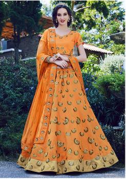 Orange Color Designer Silk Lehenga