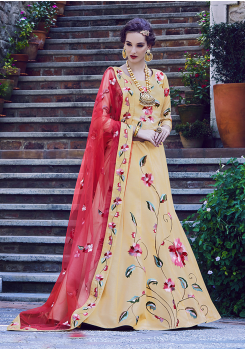 Gold With Red Color Designer Silk Lehenga