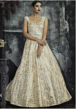 Sky Blue With Gold Color Designer Jacquard Gown
