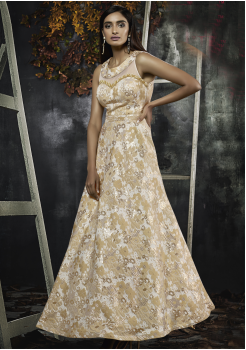 Gold Color Designer Jacquard Gown