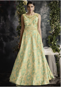 Green With Gold Color Designer Jacquard Gown