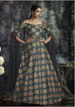Dark Blue Color Designer Jacquard Gown