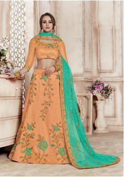 Peach With Green Color Designer Silk Lehenga