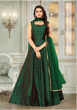 Green Color Designer Silk And Net Fabric Gown