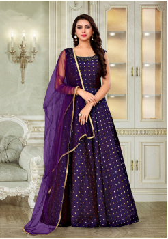 Purple Color Designer Silk And Net Fabric Gown