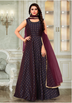 Light Maroon Color Designer Silk And Net Fabric Gown