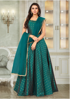Myrtle Green Color Designer Silk And Net Fabric Gown