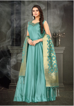 Light Blue Color Designer Silk And Banarasi Fabric Gown