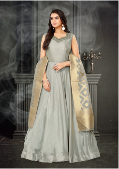 Light Grey Color Designer Silk And Banarasi Fabric Gown