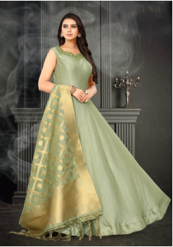 Light Green Color Designer Silk And Banarasi Fabric Gown