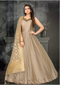 Dark Beige Color Designer Silk And Banarasi Fabric Gown