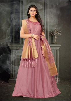 Dark Pink Color Designer Silk And Banarasi Fabric Gown