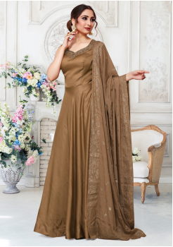 Light Brown Color Designer Silk And Chiffon Fabric Gown