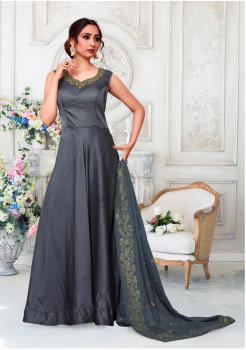 Grey Color Designer Silk And Chiffon Fabric Gown