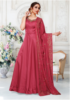 Dark Pink Color Designer Silk And Chiffon Fabric Gown