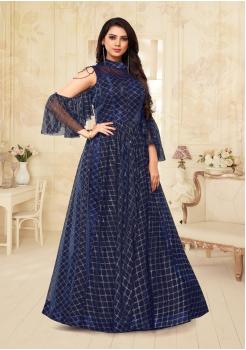 Navy Blue Color Designer Net Gown