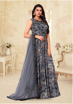 Grey Color Designer Silk And Net Fabric Gown