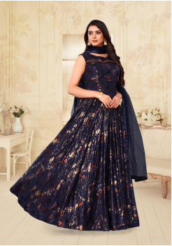 Dark Blue Color Designer Silk And Net Fabric Gown
