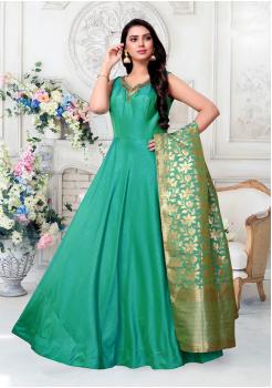 Light Green Color Designer Silk And Banarasi Fabric Gown