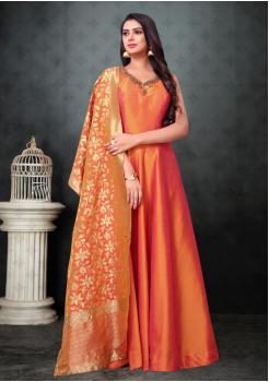 Light Orange Color Designer Silk And Banarasi Fabric Gown